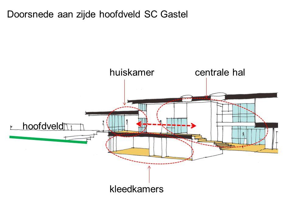 Doorsnede aan zijde hoofdveld SC Gastel hoofdveld huiskamer kleedkamers centrale hal