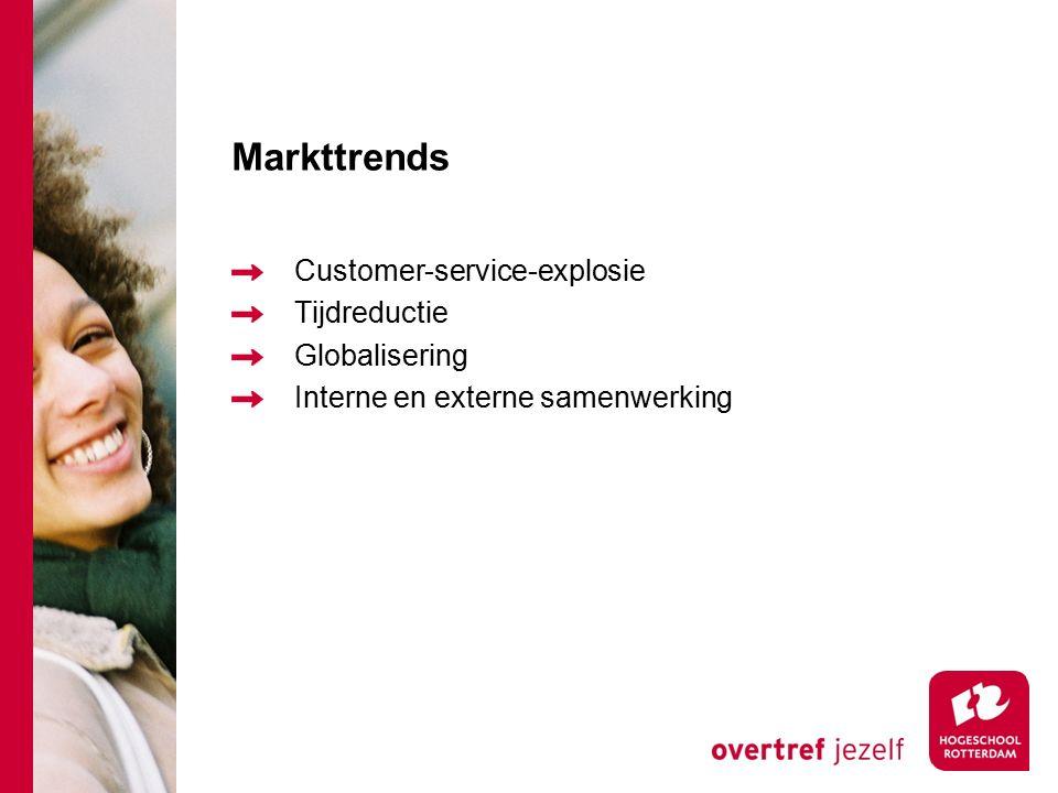 Markttrends Customer-service-explosie Tijdreductie Globalisering Interne en externe samenwerking
