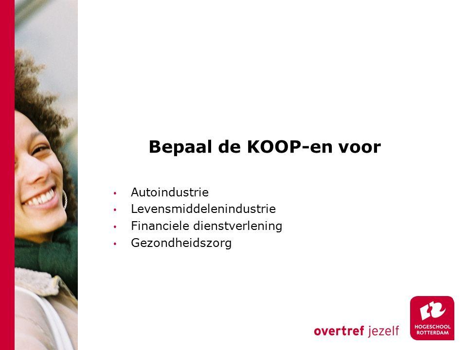 Bepaal de KOOP-en voor Autoindustrie Levensmiddelenindustrie Financiele dienstverlening Gezondheidszorg