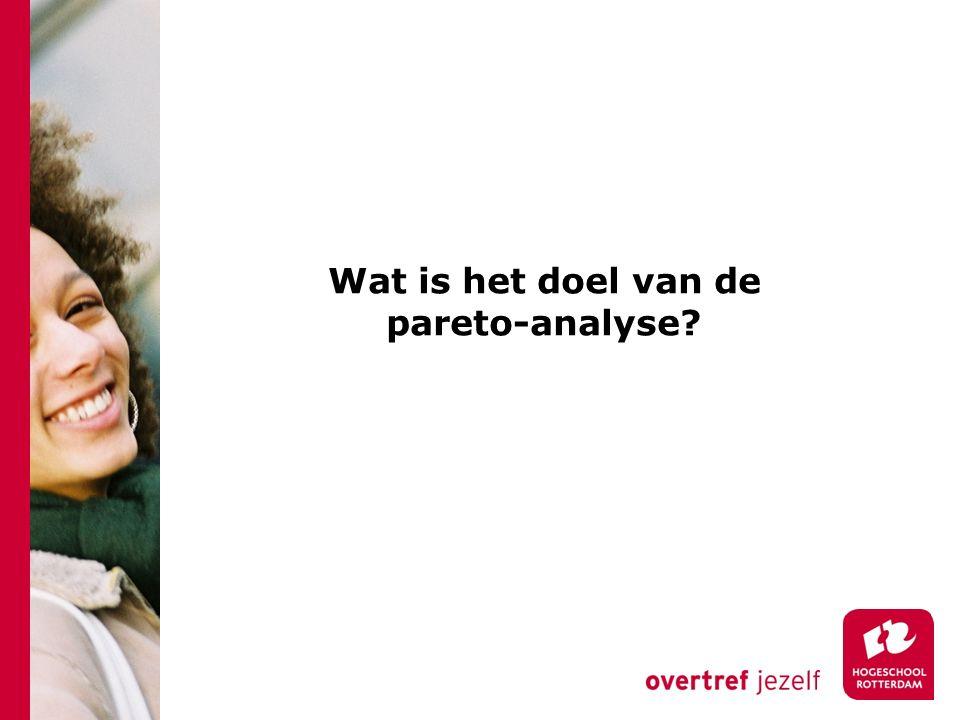 Wat is het doel van de pareto-analyse?