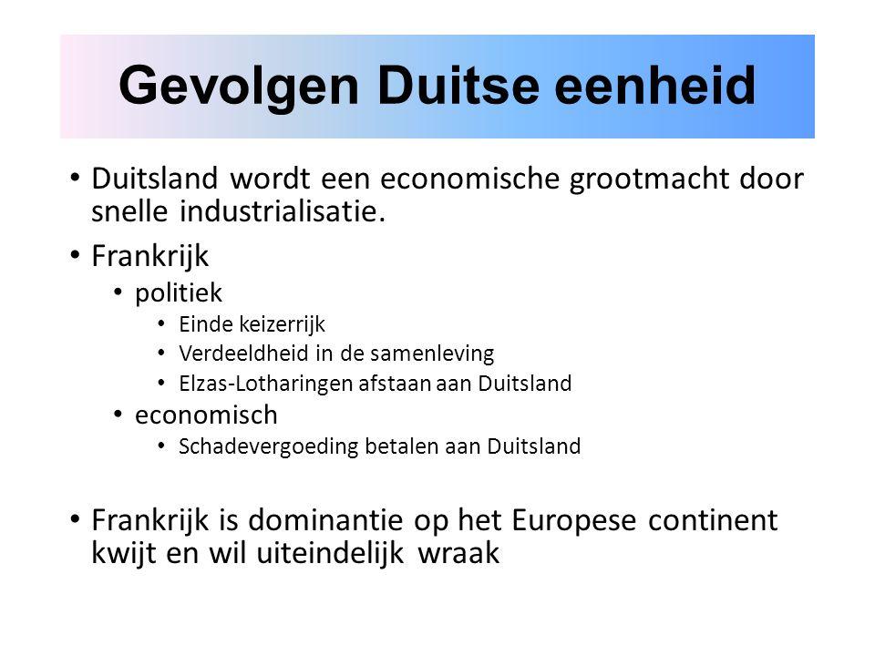 Gevolgen Duitse eenheid Duitsland wordt een economische grootmacht door snelle industrialisatie.