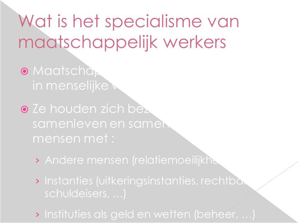 Wat is het specialisme van maatschappelijk werkers  Maatschappelijk werkers zijn deskundig in menselijke verhoudingen.