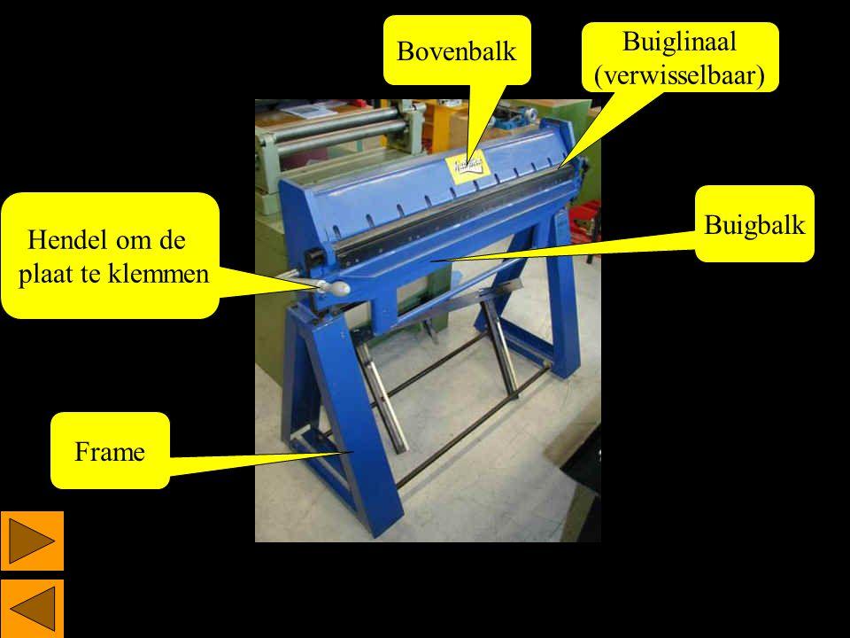 Buigbalk Buiglinaal (verwisselbaar) Bovenbalk Frame Hendel om de plaat te klemmen