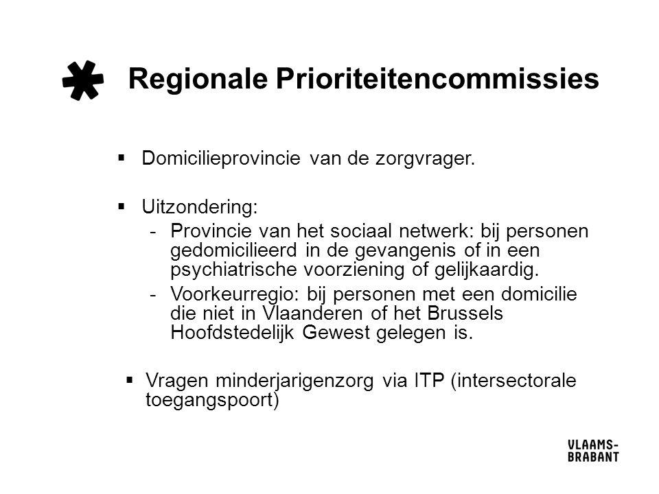 Regionale Prioriteitencommissies  Domicilieprovincie van de zorgvrager.