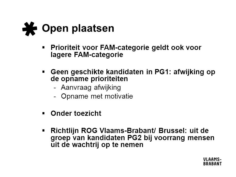 Open plaatsen  Prioriteit voor FAM-categorie geldt ook voor lagere FAM-categorie  Geen geschikte kandidaten in PG1: afwijking op de opname prioriteiten -Aanvraag afwijking -Opname met motivatie  Onder toezicht  Richtlijn ROG Vlaams-Brabant/ Brussel: uit de groep van kandidaten PG2 bij voorrang mensen uit de wachtrij op te nemen