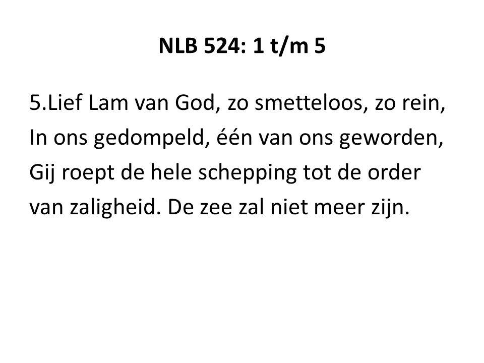 NLB 524: 1 t/m 5 5.Lief Lam van God, zo smetteloos, zo rein, In ons gedompeld, één van ons geworden, Gij roept de hele schepping tot de order van zaligheid.