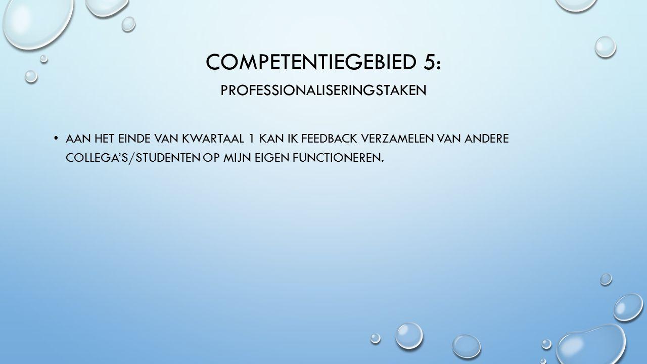 COMPETENTIEGEBIED 5: PROFESSIONALISERINGSTAKEN AAN HET EINDE VAN KWARTAAL 1 KAN IK FEEDBACK VERZAMELEN VAN ANDERE COLLEGA'S/STUDENTEN OP MIJN EIGEN FUNCTIONEREN.