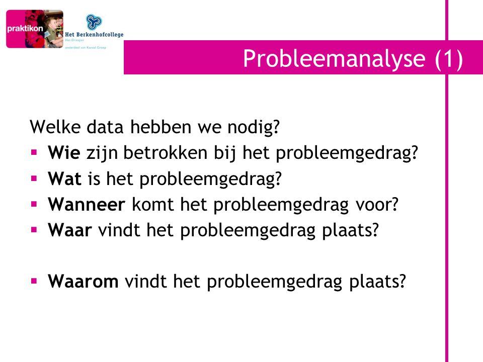 Probleemanalyse (1) Welke data hebben we nodig?  Wie zijn betrokken bij het probleemgedrag?  Wat is het probleemgedrag?  Wanneer komt het probleemg