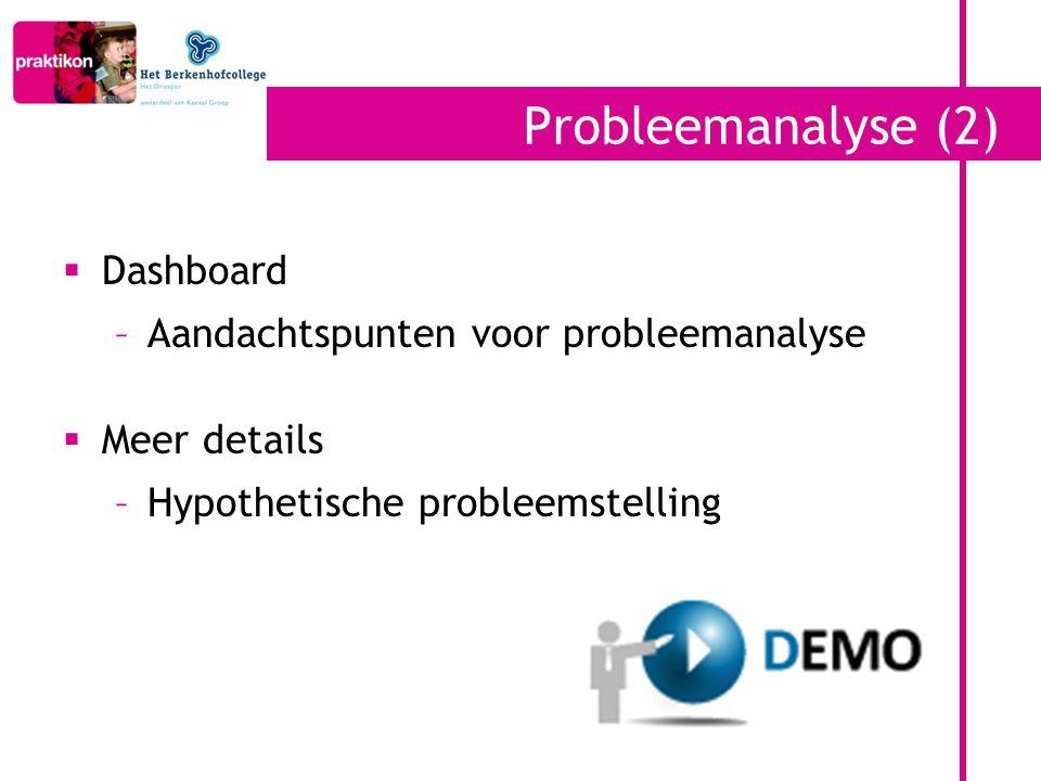 Probleemanalyse (2)  Dashboard –Aandachtspunten voor probleemanalyse  Meer details –Hypothetische probleemstelling