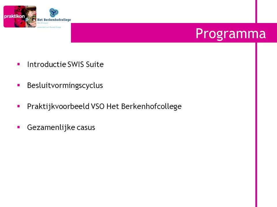Programma  Introductie SWIS Suite  Besluitvormingscyclus  Praktijkvoorbeeld VSO Het Berkenhofcollege  Gezamenlijke casus