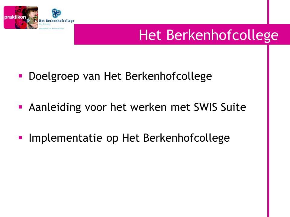 Het Berkenhofcollege  Doelgroep van Het Berkenhofcollege  Aanleiding voor het werken met SWIS Suite  Implementatie op Het Berkenhofcollege