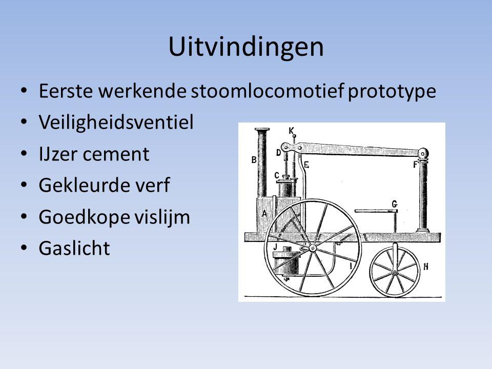 Uitvindingen Eerste werkende stoomlocomotief prototype Veiligheidsventiel IJzer cement Gekleurde verf Goedkope vislijm Gaslicht
