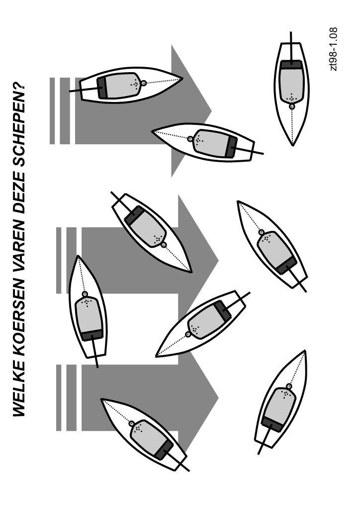 Oploeven met het roer corrigeren Oploeven met de zeilen Sturen van een zeilschip tz98-2.05 Fok vieren Grootzeil intrekken