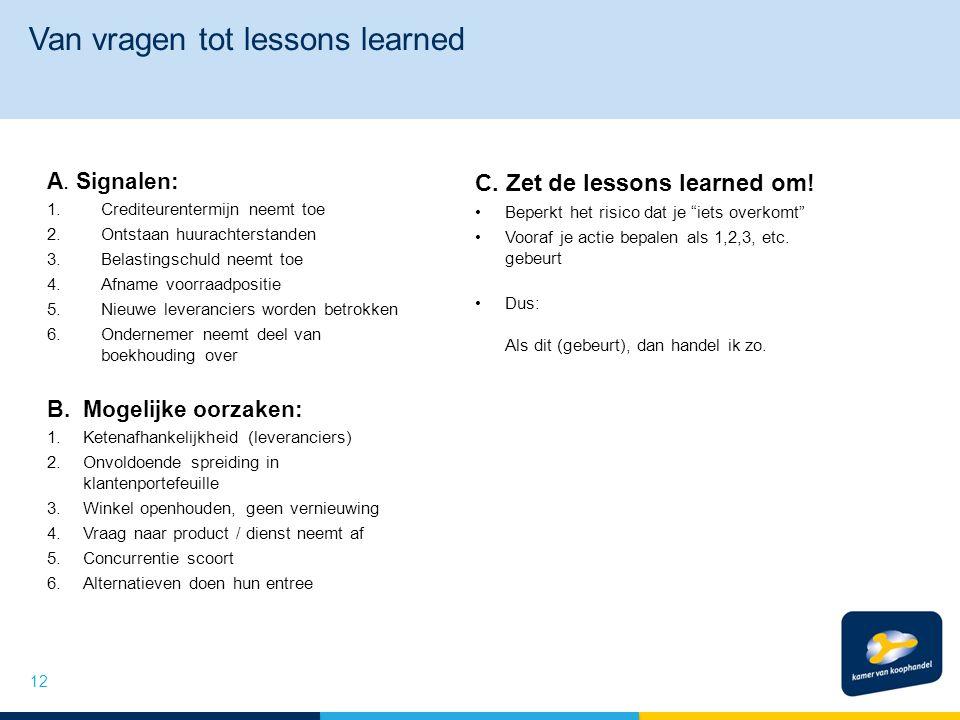 Van vragen tot lessons learned A.