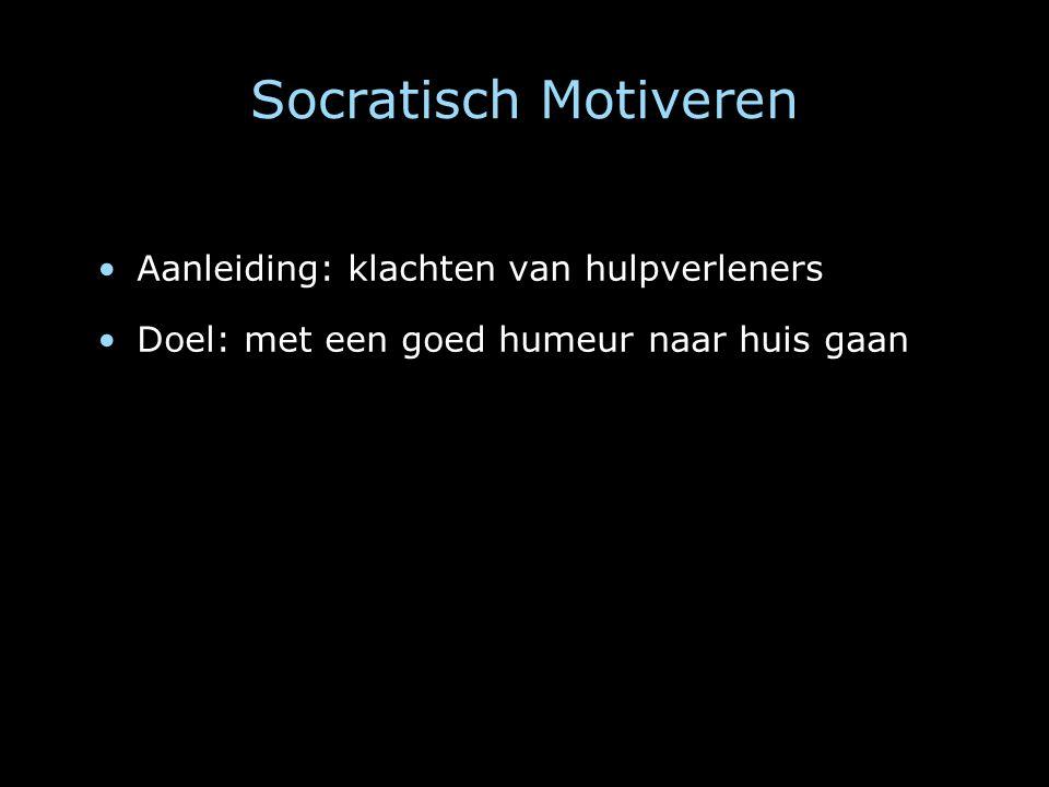 Socratisch Motiveren Aanleiding: klachten van hulpverleners Doel: met een goed humeur naar huis gaan