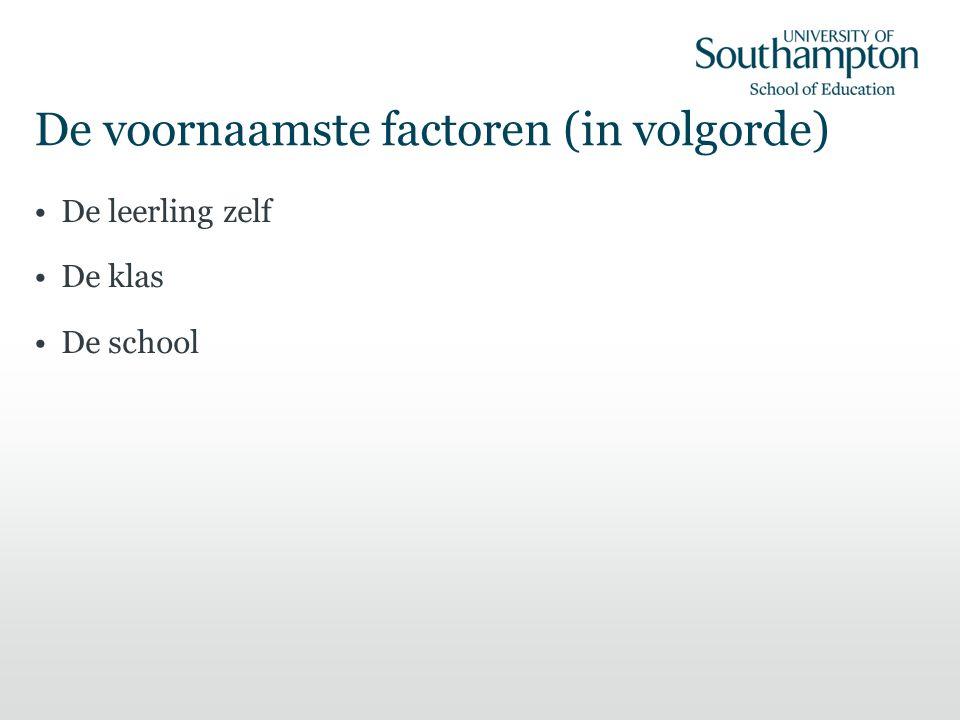 De voornaamste factoren (in volgorde) De leerling zelf De klas De school