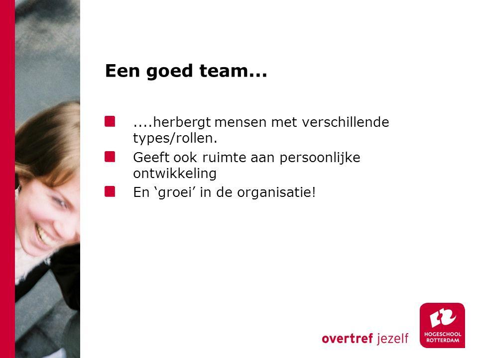 Een goed team.......herbergt mensen met verschillende types/rollen. Geeft ook ruimte aan persoonlijke ontwikkeling En 'groei' in de organisatie!