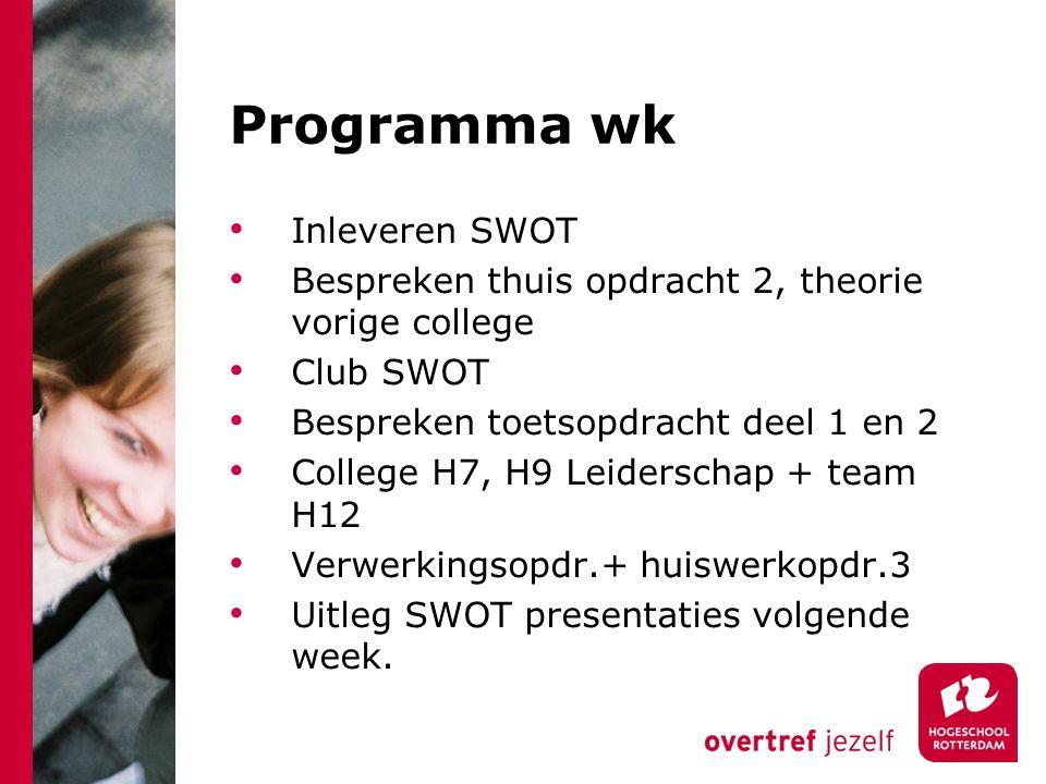 Programma wk Inleveren SWOT Bespreken thuis opdracht 2, theorie vorige college Club SWOT Bespreken toetsopdracht deel 1 en 2 College H7, H9 Leiderschap + team H12 Verwerkingsopdr.+ huiswerkopdr.3 Uitleg SWOT presentaties volgende week.