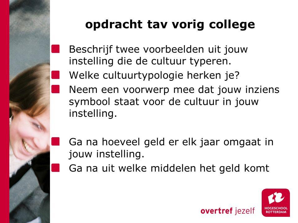 opdracht tav vorig college Beschrijf twee voorbeelden uit jouw instelling die de cultuur typeren.