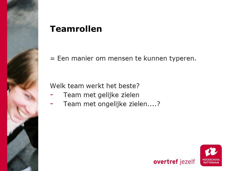 Teamrollen = Een manier om mensen te kunnen typeren. Welk team werkt het beste? - Team met gelijke zielen - Team met ongelijke zielen....?