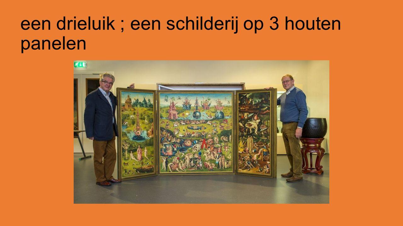 een drieluik ; een schilderij op 3 houten panelen