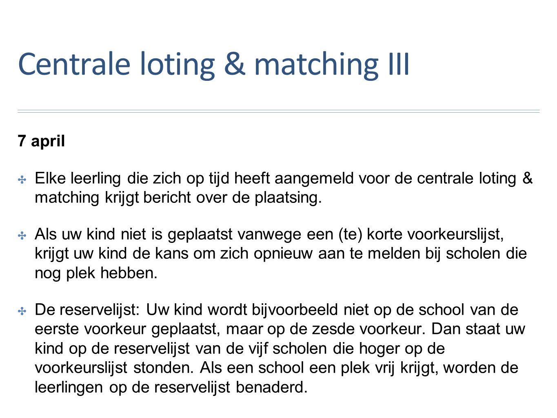 Centrale loting & matching III 7 april ✤E✤Elke leerling die zich op tijd heeft aangemeld voor de centrale loting & matching krijgt bericht over de plaatsing.