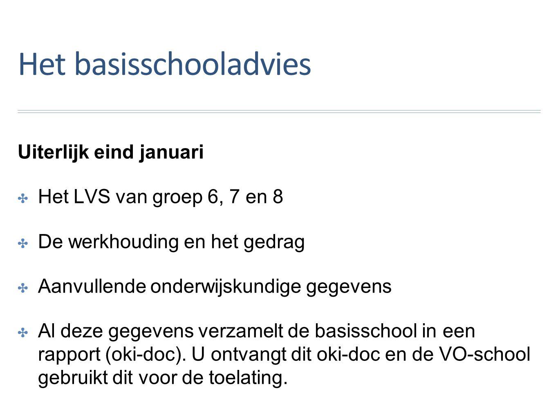 Het basisschooladvies Uiterlijk eind januari ✤H✤Het LVS van groep 6, 7 en 8 ✤D✤De werkhouding en het gedrag ✤A✤Aanvullende onderwijskundige gegevens ✤A✤Al deze gegevens verzamelt de basisschool in een rapport (oki-doc).