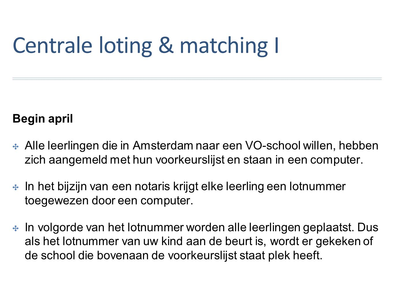 Centrale loting & matching I Begin april ✤A✤Alle leerlingen die in Amsterdam naar een VO-school willen, hebben zich aangemeld met hun voorkeurslijst en staan in een computer.