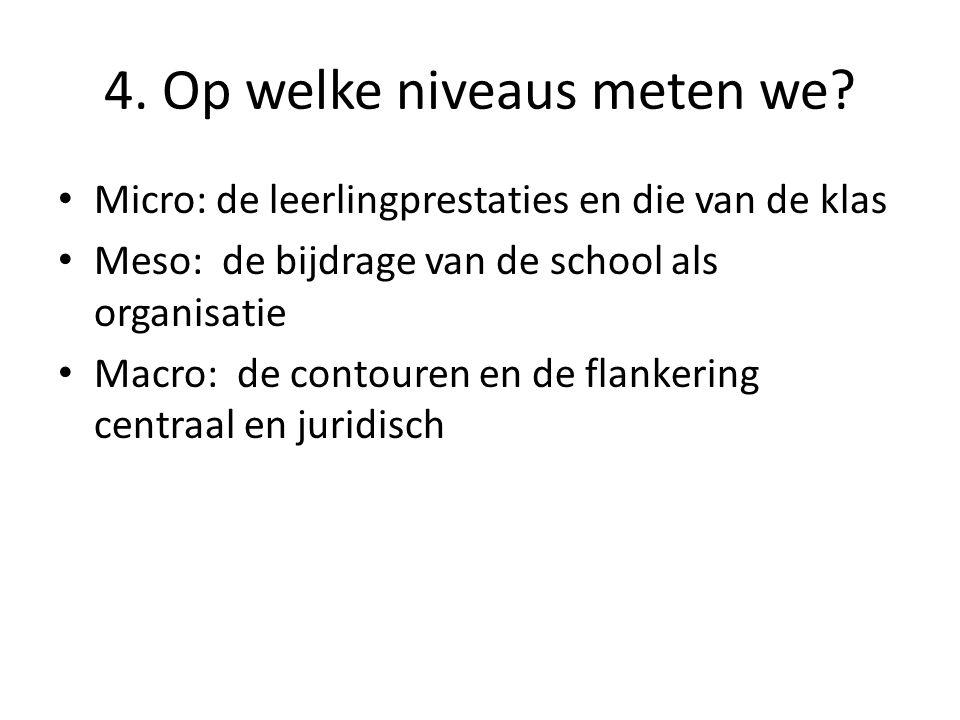 4. Op welke niveaus meten we? Micro: de leerlingprestaties en die van de klas Meso: de bijdrage van de school als organisatie Macro: de contouren en d