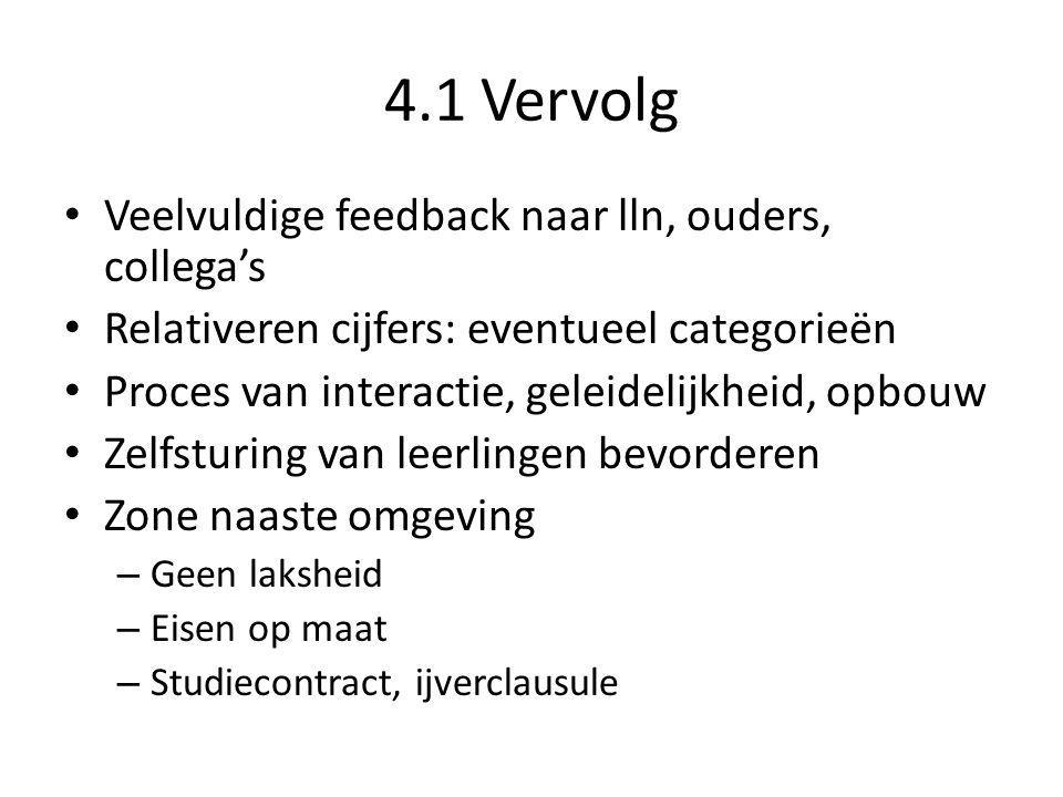 4.1 Vervolg Veelvuldige feedback naar lln, ouders, collega's Relativeren cijfers: eventueel categorieën Proces van interactie, geleidelijkheid, opbouw