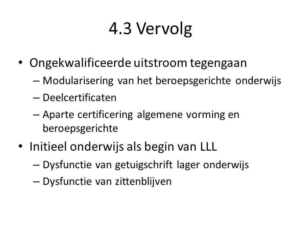 4.3 Vervolg Ongekwalificeerde uitstroom tegengaan – Modularisering van het beroepsgerichte onderwijs – Deelcertificaten – Aparte certificering algemen
