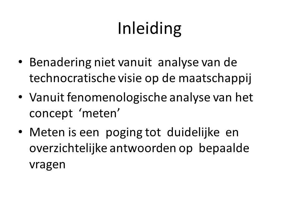 Inleiding Benadering niet vanuit analyse van de technocratische visie op de maatschappij Vanuit fenomenologische analyse van het concept 'meten' Meten