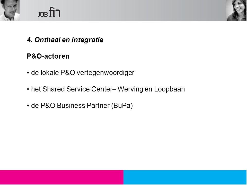 4. Onthaal en integratie P&O-actoren de lokale P&O vertegenwoordiger het Shared Service Center– Werving en Loopbaan de P&O Business Partner (BuPa)