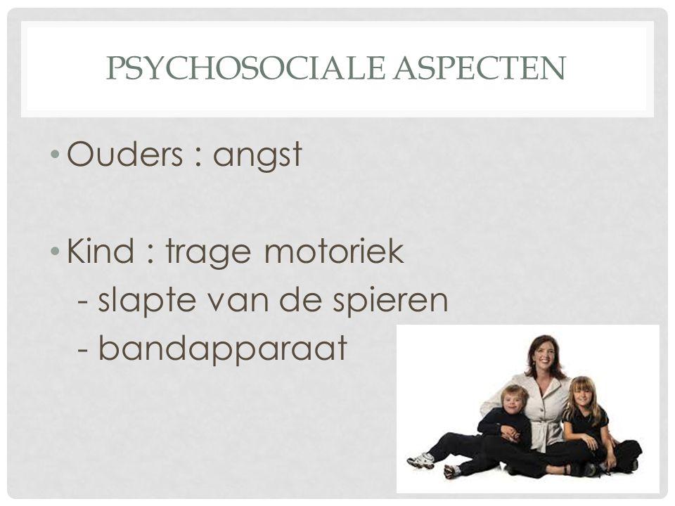 PSYCHOSOCIALE ASPECTEN Ouders : angst Kind : trage motoriek - slapte van de spieren - bandapparaat