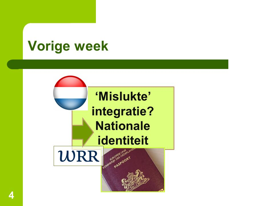Vorige week 4 'Mislukte' integratie? Nationale identiteit
