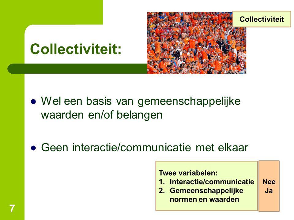 Collectiviteit: ●Wel een basis van gemeenschappelijke waarden en/of belangen ●Geen interactie/communicatie met elkaar 7 Nee Ja