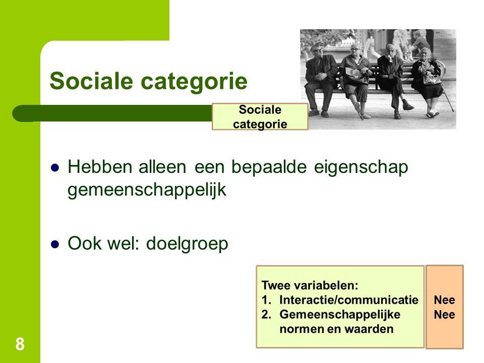 Sociale categorie ●Hebben alleen een bepaalde eigenschap gemeenschappelijk ●Ook wel: doelgroep 8 Nee