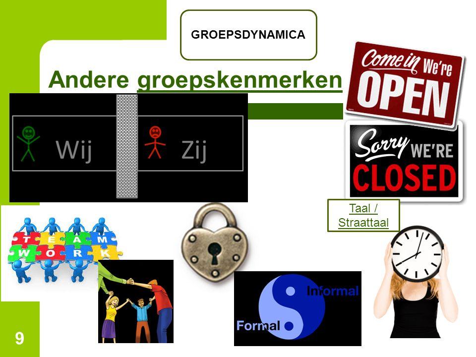 Andere groepskenmerkengroepskenmerken 9 GROEPSDYNAMICA Taal / Straattaal