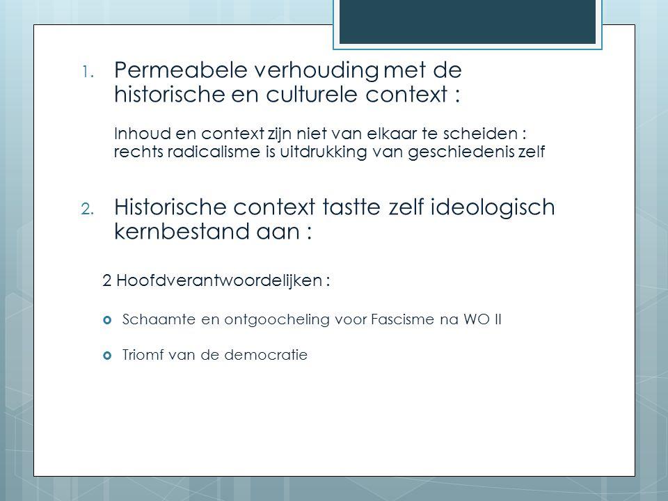1. Permeabele verhouding met de historische en culturele context : Inhoud en context zijn niet van elkaar te scheiden : rechts radicalisme is uitdrukk