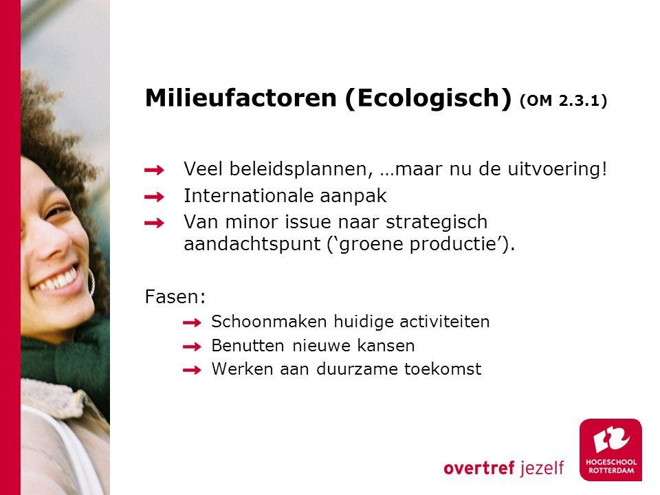 Milieufactoren (Ecologisch) (OM 2.3.1) Veel beleidsplannen, …maar nu de uitvoering.