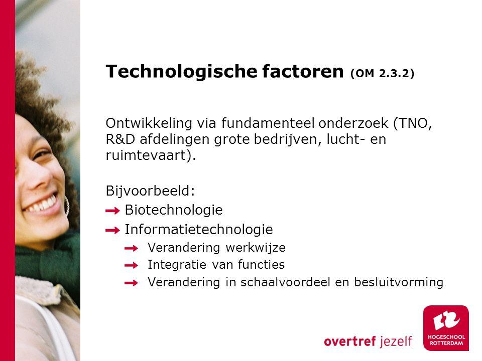 Technologische factoren (OM 2.3.2) Ontwikkeling via fundamenteel onderzoek (TNO, R&D afdelingen grote bedrijven, lucht- en ruimtevaart).