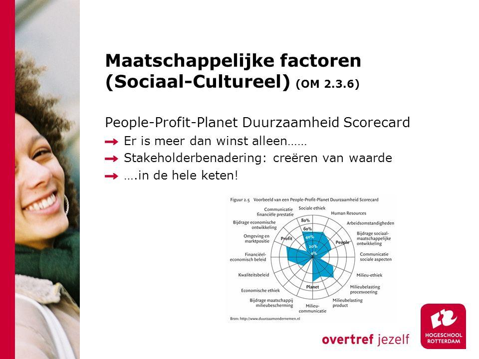 Maatschappelijke factoren (Sociaal-Cultureel) (OM 2.3.6) People-Profit-Planet Duurzaamheid Scorecard Er is meer dan winst alleen…… Stakeholderbenadering: creëren van waarde ….in de hele keten!