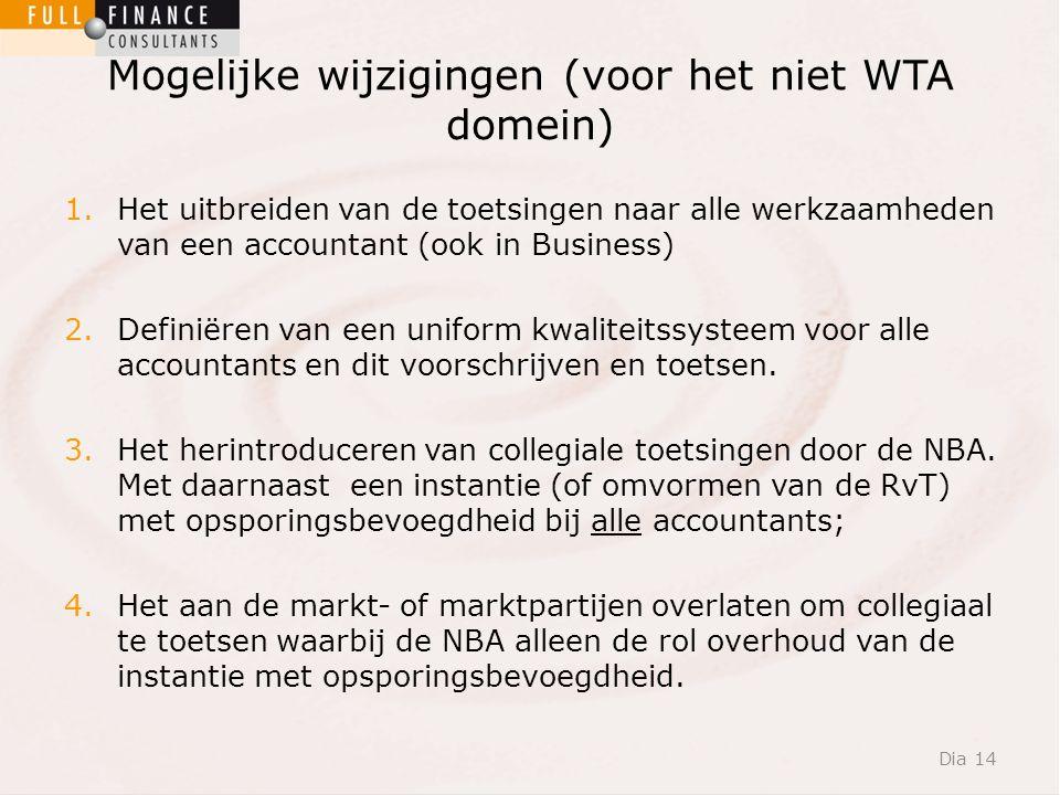 Mogelijke wijzigingen (voor het niet WTA domein) 1.Het uitbreiden van de toetsingen naar alle werkzaamheden van een accountant (ook in Business) 2.Definiëren van een uniform kwaliteitssysteem voor alle accountants en dit voorschrijven en toetsen.