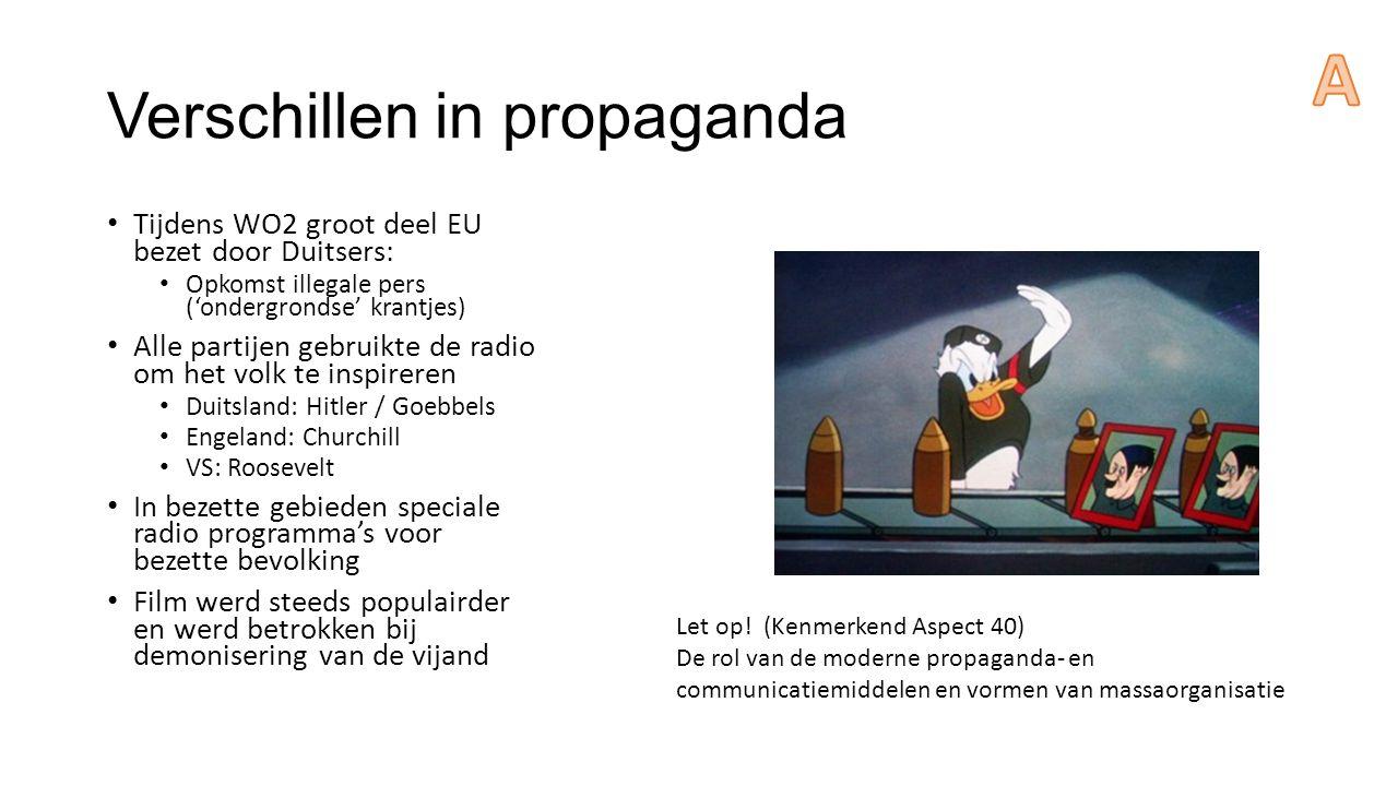 Verschillen in propaganda Tijdens WO2 groot deel EU bezet door Duitsers: Opkomst illegale pers ('ondergrondse' krantjes) Alle partijen gebruikte de ra