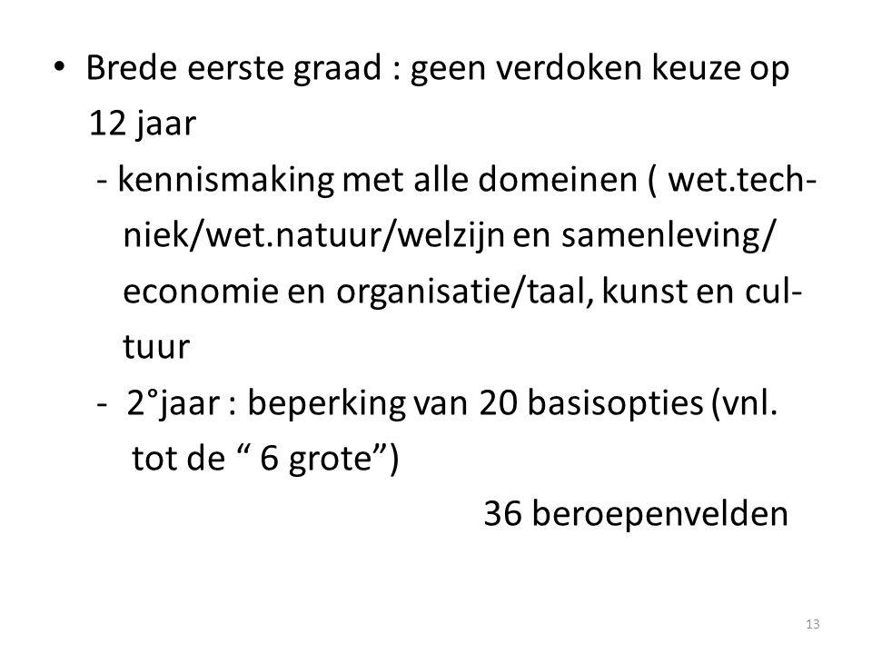 Brede eerste graad : geen verdoken keuze op 12 jaar - kennismaking met alle domeinen ( wet.tech- niek/wet.natuur/welzijn en samenleving/ economie en o