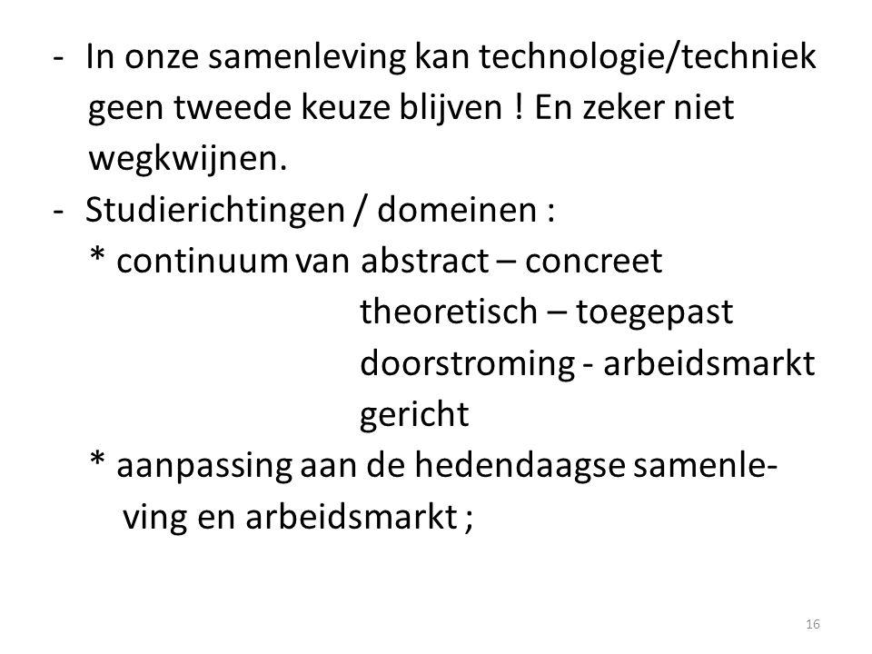 -In onze samenleving kan technologie/techniek geen tweede keuze blijven ! En zeker niet wegkwijnen. -Studierichtingen / domeinen : * continuum van abs