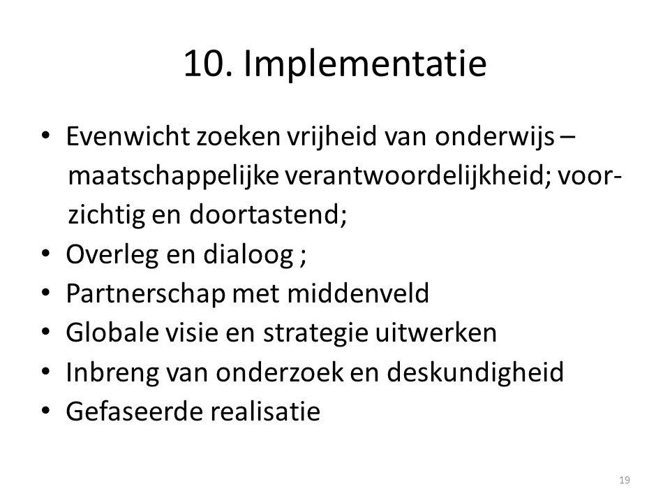 10. Implementatie Evenwicht zoeken vrijheid van onderwijs – maatschappelijke verantwoordelijkheid; voor- zichtig en doortastend; Overleg en dialoog ;