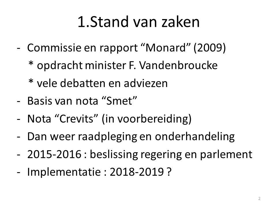"""1.Stand van zaken -Commissie en rapport """"Monard"""" (2009) * opdracht minister F. Vandenbroucke * vele debatten en adviezen -Basis van nota """"Smet"""" -Nota"""