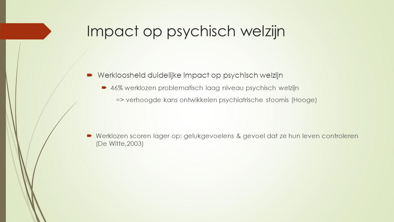 Impact op psychisch welzijn  Werkloosheid duidelijke impact op psychisch welzijn  46% werklozen problematisch laag niveau psychisch welzijn => verhoogde kans ontwikkelen psychiatrische stoornis (Hooge)  Werklozen scoren lager op: gelukgevoelens & gevoel dat ze hun leven controleren (De Witte,2003)