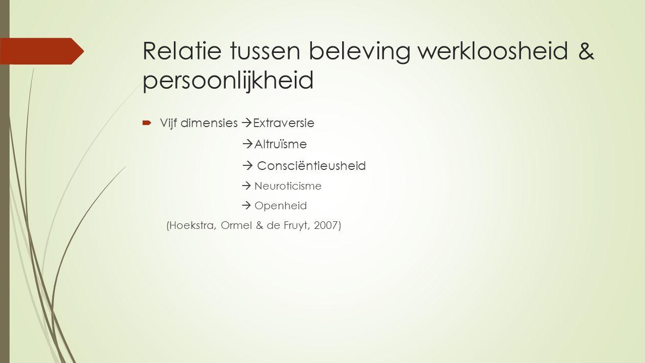 Relatie tussen beleving werkloosheid & persoonlijkheid  Vijf dimensies  Extraversie  Altruïsme  Consciëntieusheid  Neuroticisme  Openheid (Hoekstra, Ormel & de Fruyt, 2007)